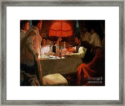 Under The Red Light Framed Print by Lukjan Vasilievich Popov