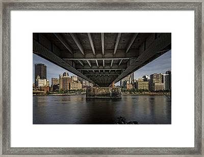 Under The Roberto Clemente Bridge Framed Print by Rick Berk