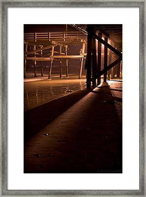 Under The San Clemente Pier At Night Framed Print by Richard Daugherty
