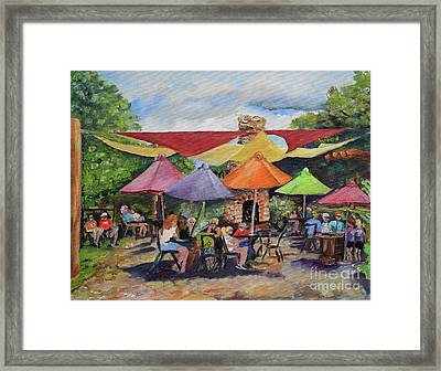 Framed Print featuring the painting Under The Umbrellas At The Cartecay Vineyard - Crush Festival  by Jan Dappen