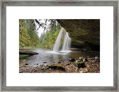 Under Upper Butte Creek Falls In Autumn Framed Print by David Gn