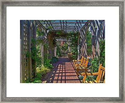 Underneath The Arbor Framed Print by Julie Grace