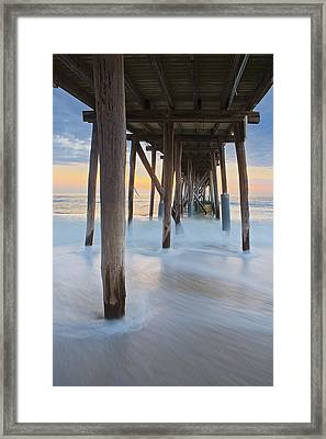 Underneath The Pier At The Jersey Shore  Framed Print by Susan Candelario