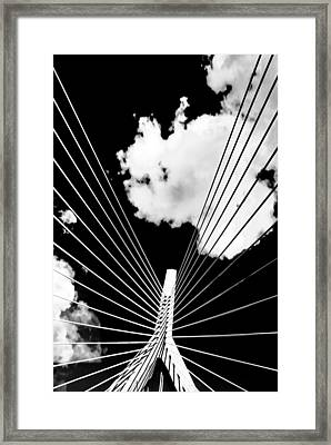 Underneath The Zakim Framed Print by Andrew Kubica