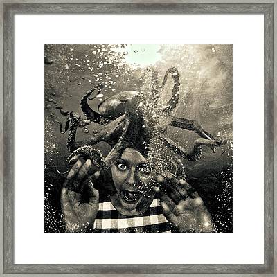 Underwater Nightmare Black And White Framed Print