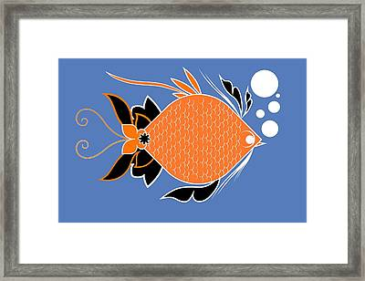 Underwater Ocean Fish And Bubbles Illustration Framed Print