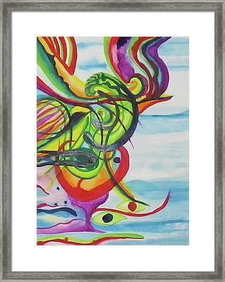 Underwater Psychedelic Bird Framed Print by Erika Swartzkopf