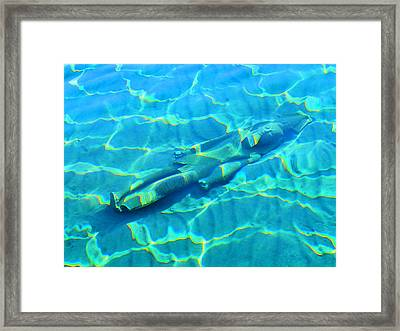 Underwater World. Ancient Statue. Framed Print by Andy Za