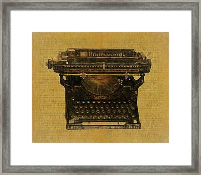 Underwood Typewriter On Text Framed Print by Dan Sproul