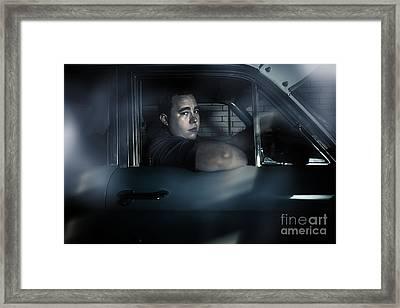 Underworld Man Looking Out Car Window In Dark Framed Print by Jorgo Photography - Wall Art Gallery
