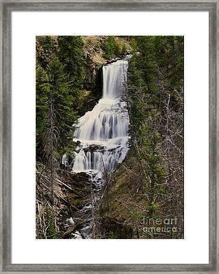 Undine Falls On Lava Creek Framed Print by Dennis Hammer