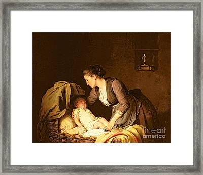Undressing The Baby Framed Print