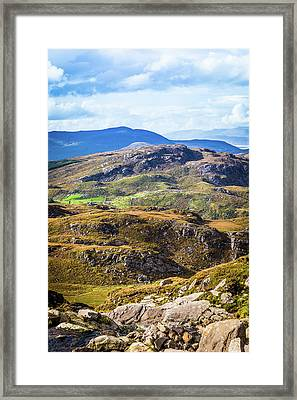 Framed Print featuring the photograph Undulating Green, Purple And Yellow Rocky Landscape In  Ireland by Semmick Photo