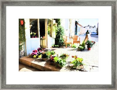 Une Rue En France Street Florist Framed Print by Sandra Cockayne