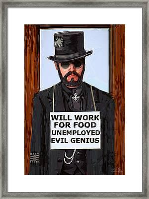 Unemployed Steam Punk Evil Genius Framed Print