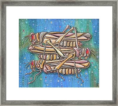 Unending A Malachite Gothic Of Non-conventional Copulating Locusts Framed Print by Victor Molev