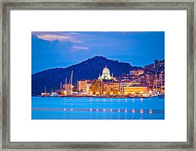 Unesco Town Of Sibenik Blue Hour View Framed Print