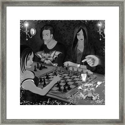 Unexpected Company - Black And White Fantasy Art Framed Print by Raphael Lopez