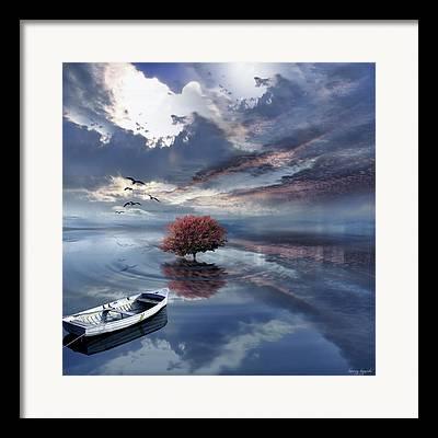 Sunset In Norway Digital Art Framed Prints