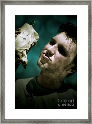 Unhappy Homeless Man Framed Print by Jorgo Photography - Wall Art Gallery