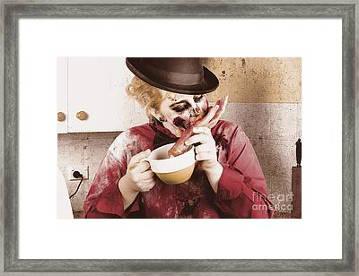 Unhealthy Zombie Eating Finger Food Framed Print by Jorgo Photography - Wall Art Gallery