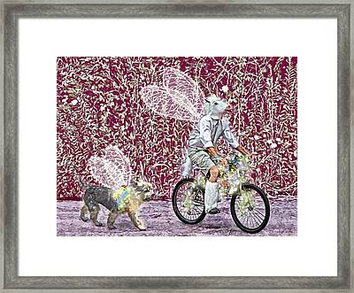 Unicorn And Doggie Fairies Framed Print