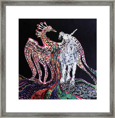 Unicorn And Phoenix Merge Paths Framed Print