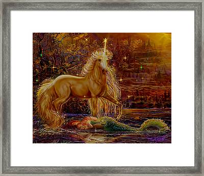Unicorn And The Mermaid Mother Framed Print by Steve Roberts