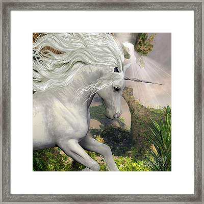 Unicorn And Yucca Plant Framed Print by Corey Ford