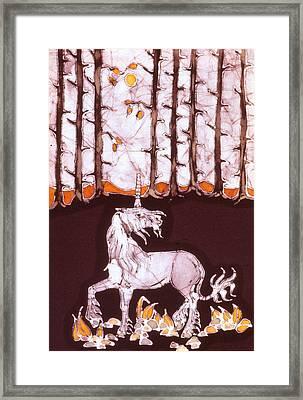 Unicorn Below Trees In Autumn Framed Print by Carol  Law Conklin