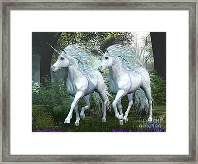 Unicorn Elm Forest Framed Print by Corey Ford