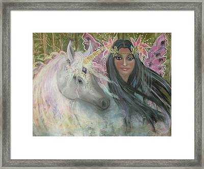 Unicorn Faery Mother Framed Print by Coral Lee