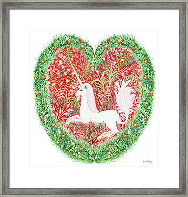 Unicorn Heart With Millefleurs Framed Print by Lise Winne