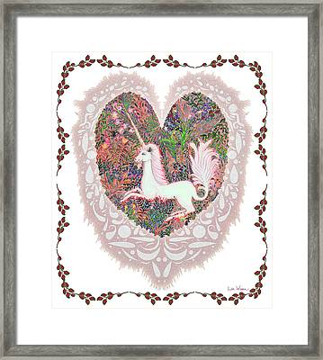 Unicorn In A Pink Heart Framed Print by Lise Winne