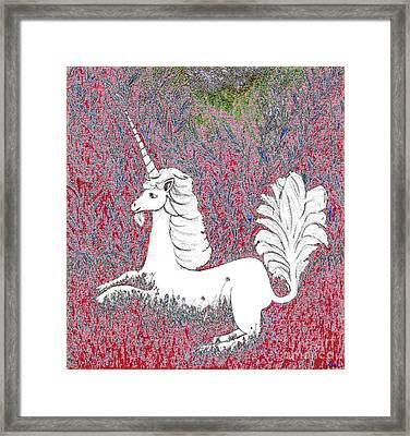 Unicorn In A Red Tapestry Framed Print by Lise Winne