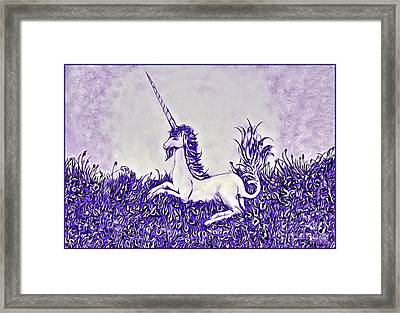 Unicorn In Purple Framed Print by Lise Winne