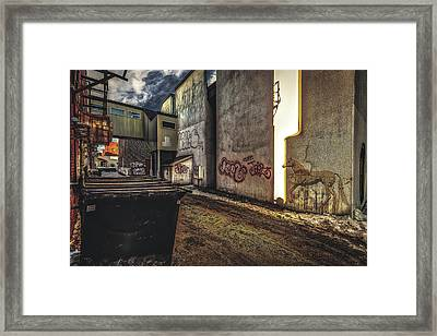 Unicorn In The Alley Framed Print
