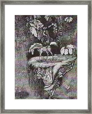 Framed Print featuring the drawing Unicorn by Loxi Sibley