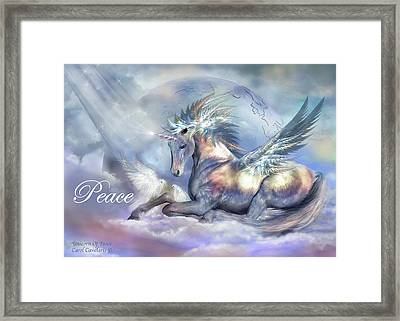 Unicorn Of Peace Card Framed Print by Carol Cavalaris