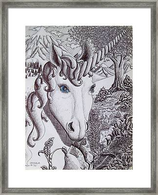 Unicorn On Vacation Framed Print by Joshua Armstrong