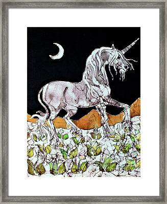 Unicorn Over Flower Field Framed Print