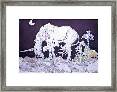 Unicorn Pauses Framed Print by Carol  Law Conklin