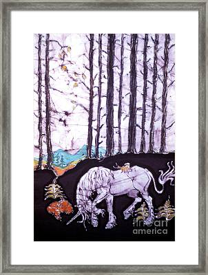 Unicorn Rests In The Forest With Fox And Bird Framed Print by Carol Law Conklin