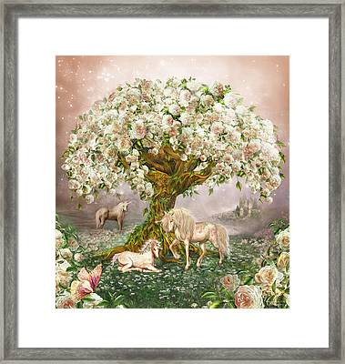 Unicorn Rose Tree Framed Print