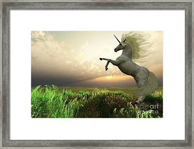 Unicorn Stag Framed Print by Corey Ford