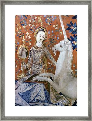 Unicorn Tapestry, 15th C Framed Print