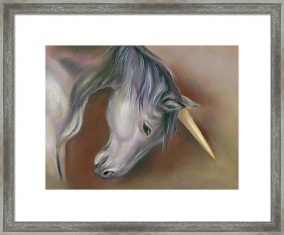 Unicorn With A Golden Horn Framed Print