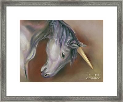Unicorn With A Golden Horn Framed Print