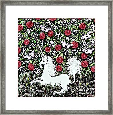 Unicorn With Red Roses And Butterflies Framed Print