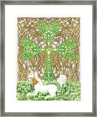 Unicorn With Shamrock Framed Print by Lise Winne